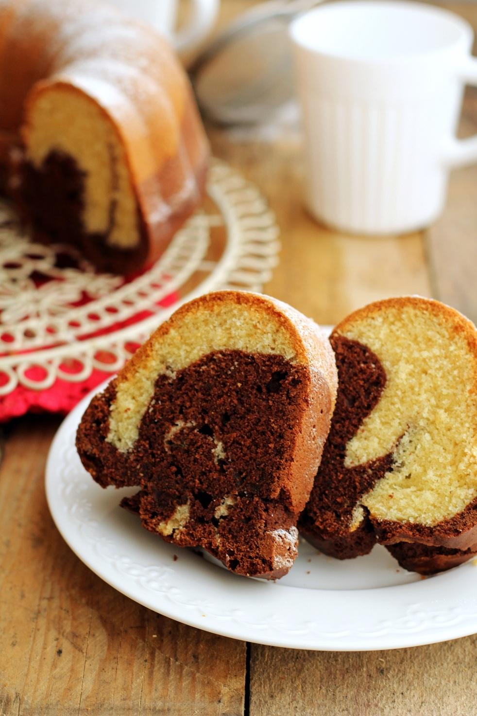 babka marmurkowa, babka łaciata, ciasto ucierane, kakao