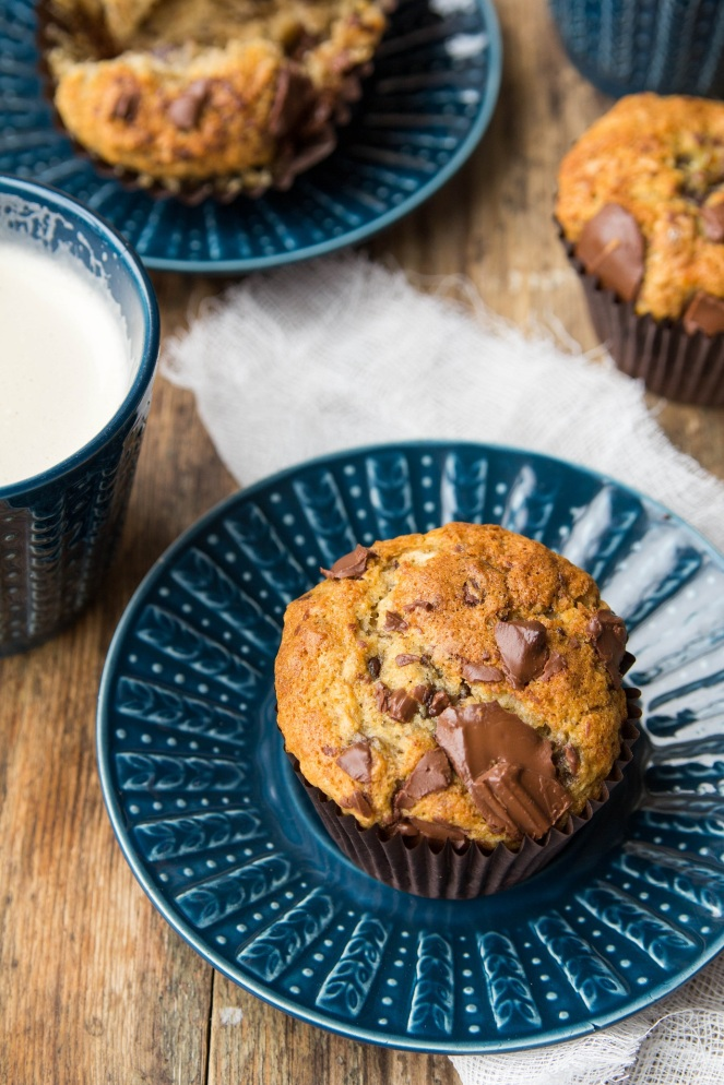 najlepsze muffiny z bananami i kawałkami czekolady
