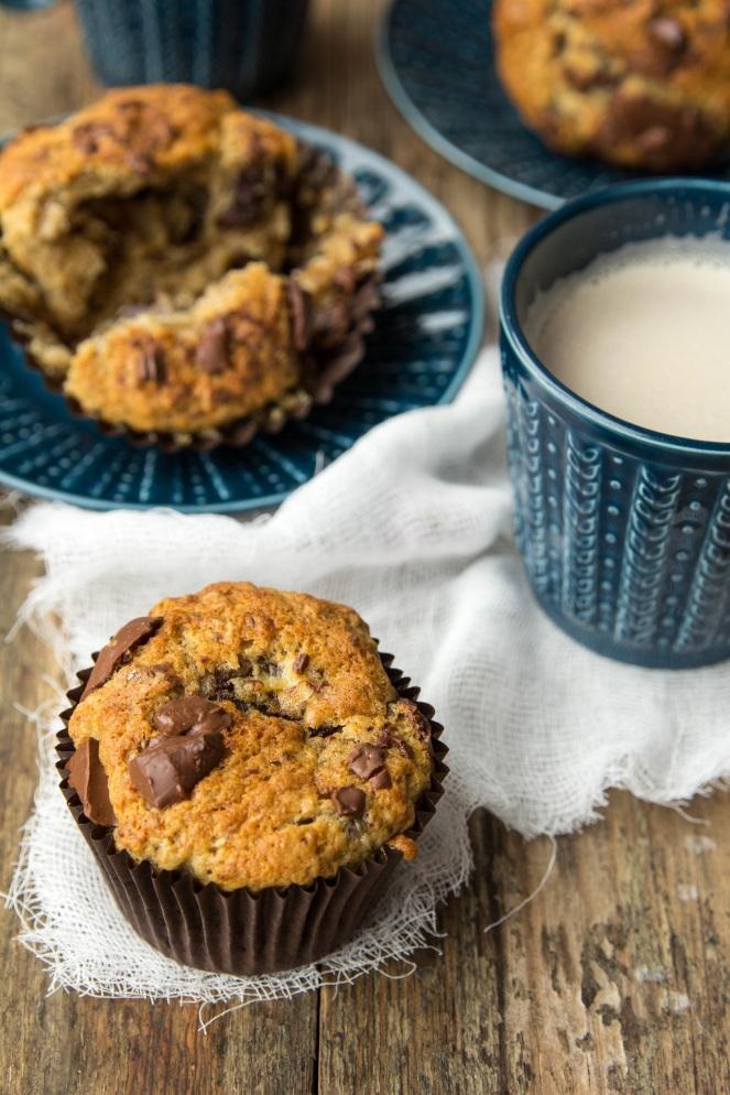 najlepsze muffiny bananowe z kawałkami czekolady